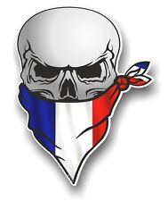 Skull With Face BANDANA & France French Tricolour Flag vinyl car sticker decal