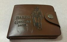 NEW MENS BAILINI BROWN LEATHER WALLET RIFLE COWBOY CLUTCH SNAP BUTTON BIFOLD