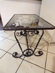 Table basse vintage en fer forgé et verre fait main