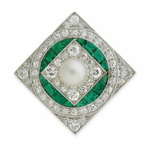 White Gold Plated Full Cut Diamond Emerald Pearl 925 Silver Brooch Pin Jewelry
