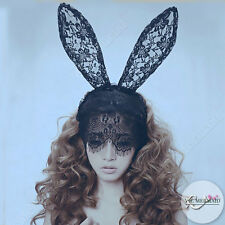 Black Lace Long Bunny Ears Mask Headband Girl Veil Party Costume Cosplay Ariana