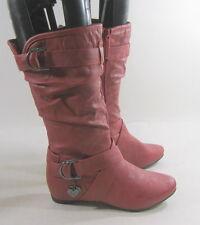 Nuevo para Dama Rojo 3.8cmlow Hidden Tacón Cuña Top Sexy Media Caña Botas Tamaño