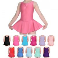 NEW BALLET DANCE LEOTARD WITH ATTATCHED SKIRT FROM 2-12 YEARS PINK BLUE AND MORE