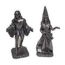 "Miniature Wizard & Man Figurines Metal 2.25"" T Silver Color Fantasy Chess Piece"