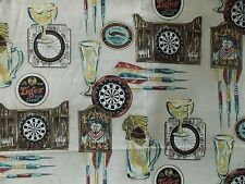 WtW Fabric Beer Bar Tavern Ad Mugs Darts Mens Sport Game Novelty 2259 BTY Quilt