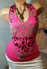 NEW BOSTON PROPER TOP Beads Sequins Embellished Tank Top Hot Pink XS Knit