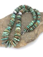 """Native American Navajo Graduated Turquoise Sterling Silver Necklace 21"""" 1242"""