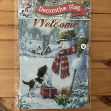 Decorative Double-Sided Outdoor Snowman and Dog Flag * Free Shipping*