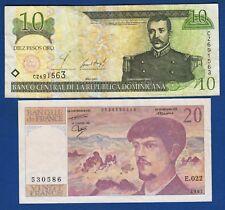 10 Pesos 2001, República Dominicana banknotes, 20 Francs 1987 France banknotes !