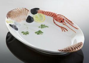BASSANO Meeresfrüchte Fischteller Servierplatte italienische Keramik 32x20