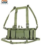 OLIVE GREEN TACTICAL TROJAN CHEST RIG UTILITY VEST AIRSOFT ARMY CAMO