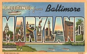 Vintage Postcard 1946 Greetings From Baltimore Maryland Pub. Harry P. Cann