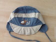 Jungen Mütze Sommermütze Gr.52 Schirmmütze Bindemütze blau/grau Ohrschutz TOP !!