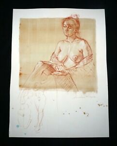 Hawaii Mixed Media Wash Painting Seated Female Nude Snowden Hodges (Sho)#148