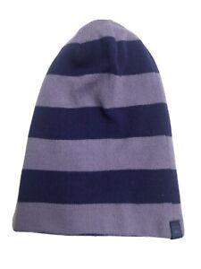 REI Purple Striped Girls Beanie Or Fold Over Cuff Knit Hat Girls' 4Y-7Y