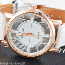 Damen Uhr Armbanduhr Analog Quarzuhr Hohle Weiß Lederband Rosegold CH 24cm
