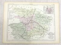 1853 Antique French Map Angers Maine et Loire France Hand Coloured Engraving