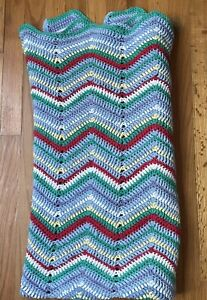 """Crochet COTTON Stripe Afghan Throw Lap Zig Zag 100% Primary Colors 46"""" By 52"""""""