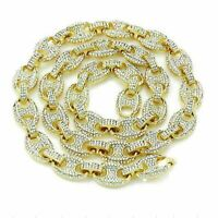 """Iced Simulated Diamond 14K GP Gold 12mm 30"""" Gucci Mariner Link Chain Necklace"""
