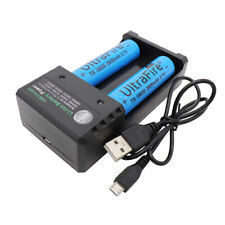 2pcs Battery 18650 3800mAh Li-ion 3.7V Rechargeable For Flashlight + USB Charger