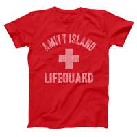 Amity Island Lifeguard  Funny Jaws Shark Week Humor Red Basic Men's T-Shirt