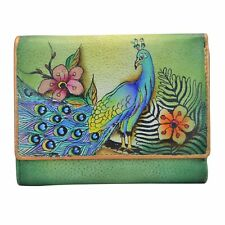 """Anuschka #1138 PPK """"PASSIONATE PEACOCKS"""" RFID Small Flap French Wallet 5""""x4"""" NWT"""