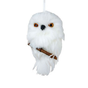 Furry White Owl on Branch Ornament