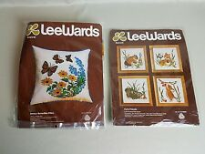 Vintage Lee Wards Crewel Kits Lot of 2 Breezy Butterfly Pillow and Furry Friends