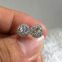 Luxury Round Cut White Sapphire Stud Earrings 925 Silver Womens Wedding Jewelry