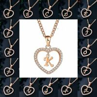 Fashion Love Heart Initial Letter A-Z Crystal Alphabet Necklace Pendant Chain