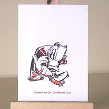 Devil Donald Duck ACEO Art Card WDCC mixed media drawing