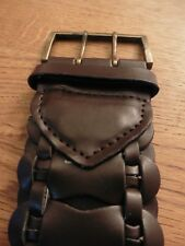 Ladies Belt, dark brown, braided, approx 118cm, faux leather