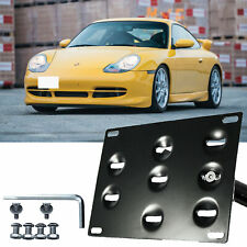 Tow License Plate Mount Bumper Bracket Relocator Black For Porsche 911 1994-2011