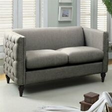 Bowery Hill Tufted Love Seat in Gray