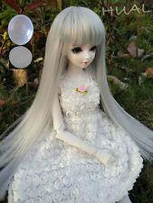 "6-7"" 1/6 BJD Silver Gray Straight Bangs Long Wig LUTS Doll SD DOD MSD Soom Hair"