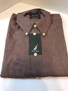 Red Nautical Short Sleeve Button Up Dress Shirt 16 34/35