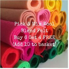 "Wool Blend/Mix Felt Fabric 22cm/9"" Square *Pick & Mix* Choice of Colours"