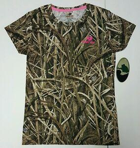 Mossy Oak Shadow Grass Blades Women's Camo Short Sleeve Crew T-Shirts: S-2XL