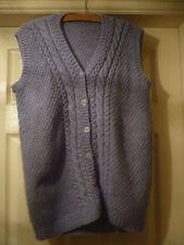 Button Wool Patternless Hip Length Waistcoats for Women
