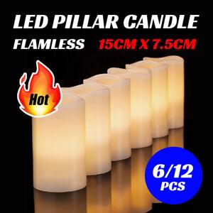 6/12 Pcs  Flameless LED Pillar Candle Lights Home Wedding Decor Battery Operated
