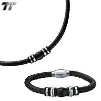 T/&T 7mm Black Two-Tone  Stainless Steel Curb Chain Necklace C90