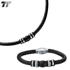 TT Black Leather S.Steel Magnet Two Tone Bead Buckle Collar Necklace+Bracelet