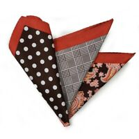NEW - Men's 100% Silk Pocket Square Brown Polka Dots with Copper Paisleys 12.5in