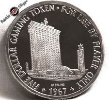 $5 FULL PROOF STERLING SILVER SLOT TOKEN THE MINT CASINO 1967 FM LAS VEGAS COIN
