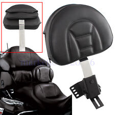 New Adjustable Plug-in Driver Rider Leather Backrest For Harley Touring 1997-up