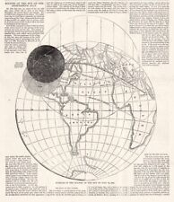 World Map of 1860 Path of Total Solar Eclipse Vintage Print