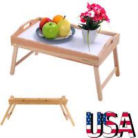 Wood Breakfast Bed Tray Lap Desk Serving Table Foldable Legs Wooden Food Dinner