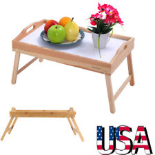 Wood Breakfast Bed Tray Lap Desk Serving Table Foldable Legs Bamboo Food Dinner