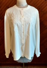 Worthington Womens Sz 16M Button Front Blouse Ivory Stitched Detail Long Sleeve