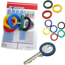 6 x Rubber Key Head Caps Color Code Rings Cover Cap Easy Identify Marker ID Tags